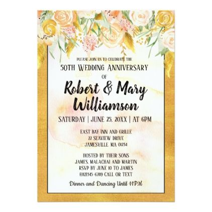 Gold Floral Th Wedding Anniversary Invitation  Wedding