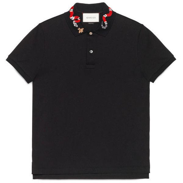 3718dc11e0 Gucci Cotton Polo With Snake Embroidery ($545) ❤ liked on Polyvore ...