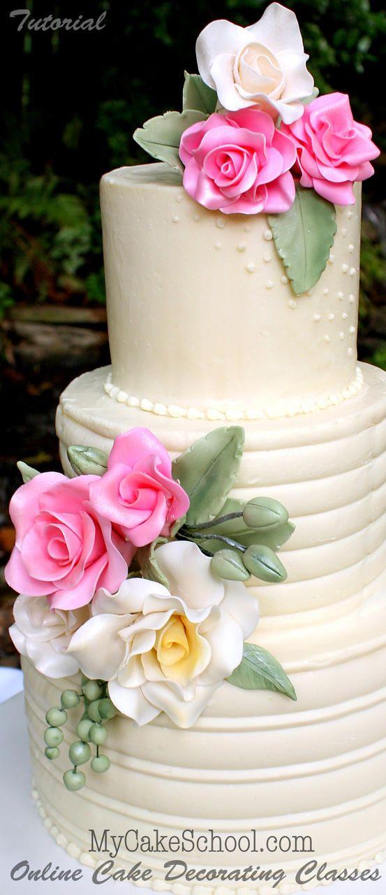 How To Make Beautiful Gum Paste Roses Cake Tutorial Rose Cake Tutorial Cake Decorating Cake Decorating Classes