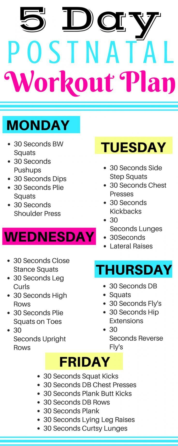 5 Day Postnatal Workout Plan - Michelle Marie Fit