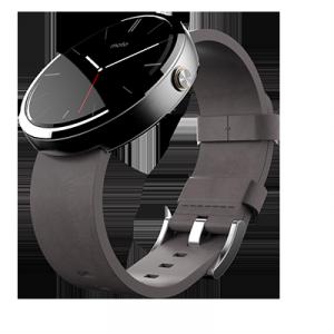 Motorola Moto 360 Android Wear -älykello, vaalea/harmaa nahkarannekkeella
