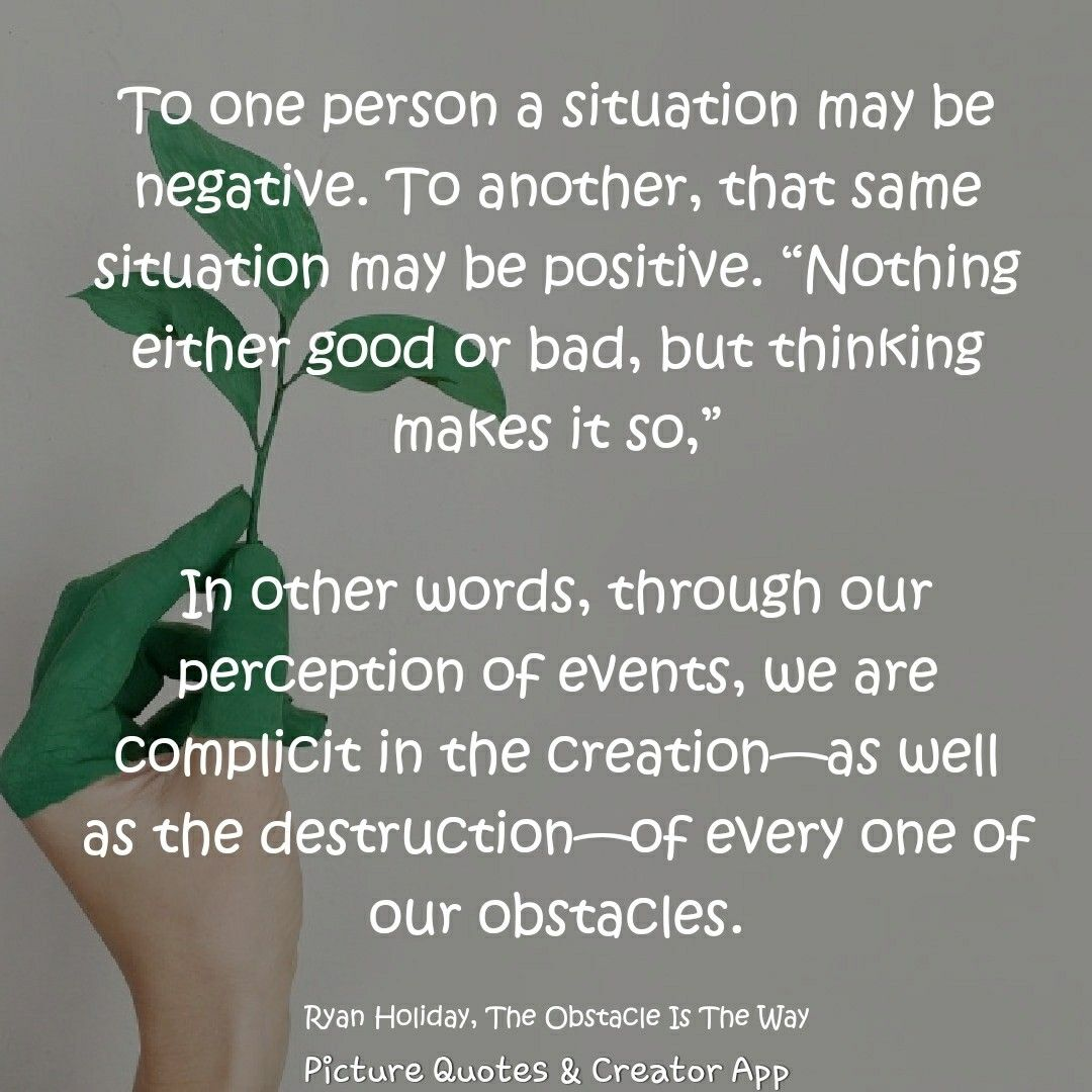 Ryan Holiday The Obstacle Is The Way Holiday Quotes Words Positive Energy