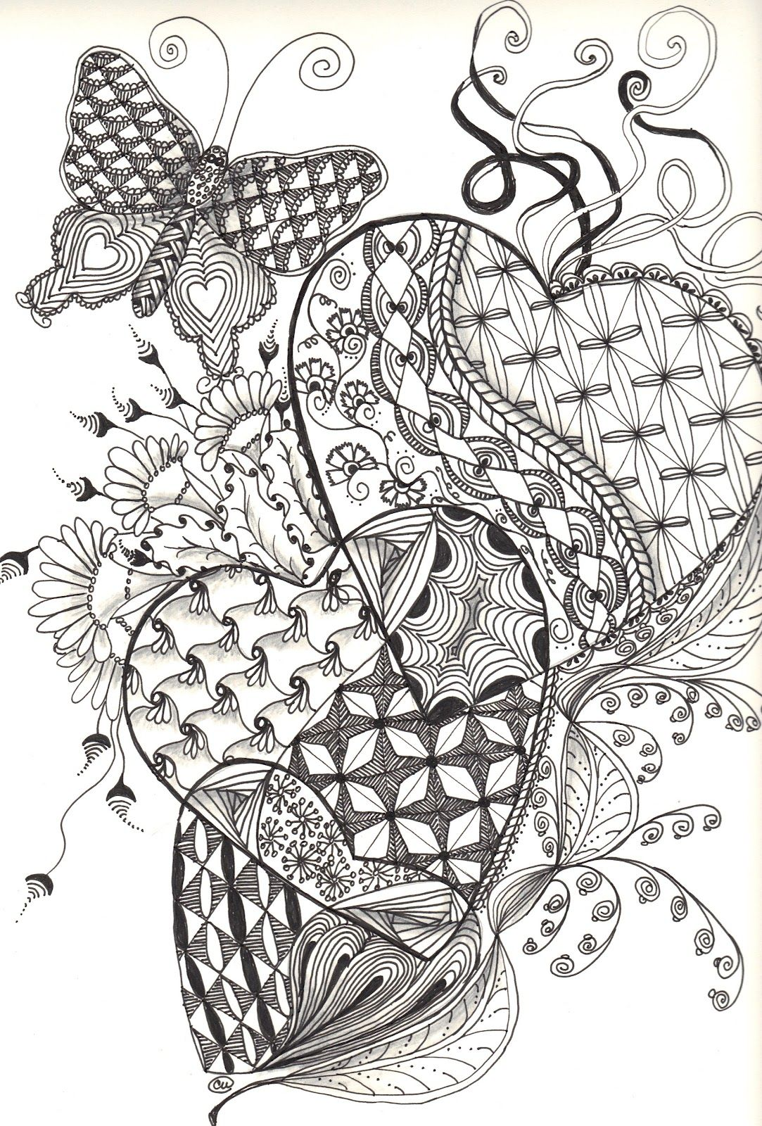 Butterfly and hearts coloring pages - Zentangle Hearts Instructions Posted By Cat Wilson At 5 47 Pm No Comments Coloring For Adultsadult Coloring Pagescoloring