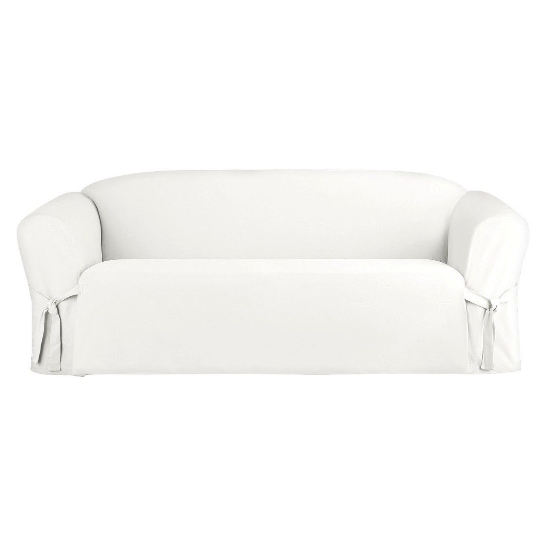 Sure Fit Cotton Canvas Sofa Slipcover   White