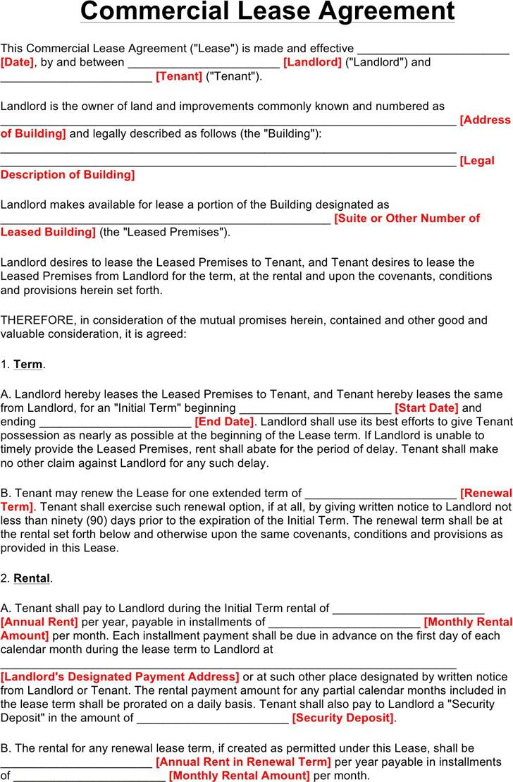 Commercial Lease Agreement Download Free Printable Rental Legal Form Template Or Wai In 2020 Lease Agreement Lease Agreement Free Printable Rental Agreement Templates