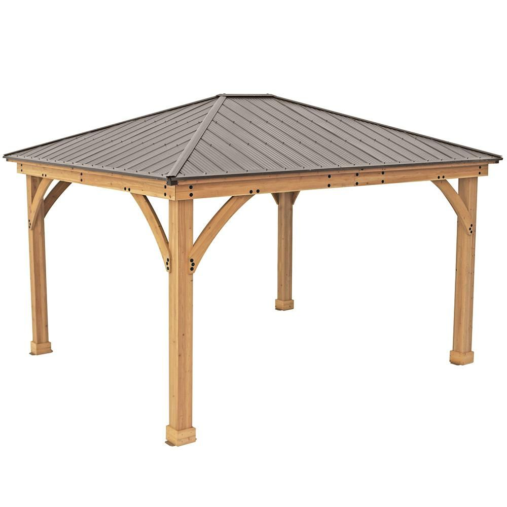 Yardistry 12 Ft X 14 Ft Meridian Gazebo Ym11772 The Home Depot In 2020 Patio Gazebo Gazebo Wood Patio