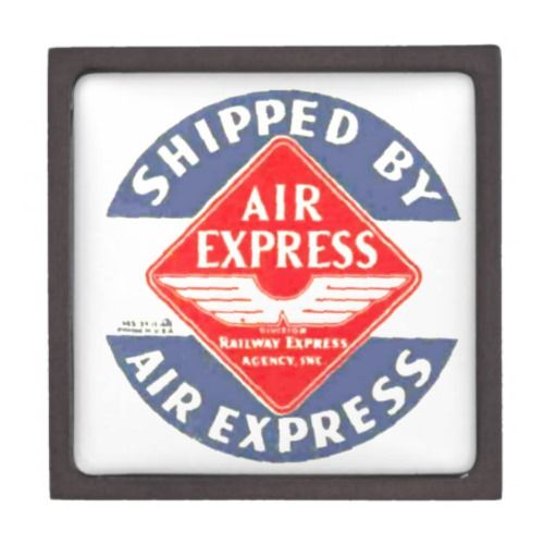 """Use Air Express by Railway Express Agency Premium Trinket Boxes; $26.95 - #stanrail - Size: Medium (3"""" X 3"""")  Display your favorite images on the lid of this beautiful gift box. Store earrings, jewelry, or coins in this fun gift box. Made of wood and secured with a magnetized lid. Railway Express promised door to door pick-up and delivery of air and air-rail express in 32 foreign countries and in 215 cities of the U. S. and Canada. #stanrails_store"""