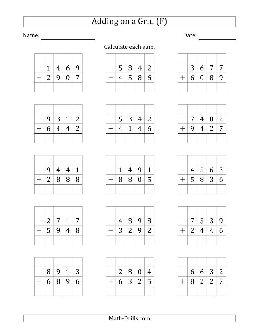 The Adding 4 Digit Plus 4 Digit Numbers On A Grid F Math Worksheet Addition Worksheets Math Addition Worksheets First Grade Math Worksheets 4th grade math addition and subtraction