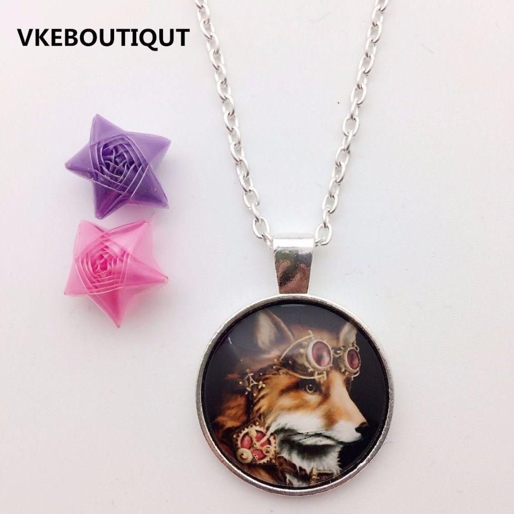 fashion necklace alloy fox glass pendant necklace fashion