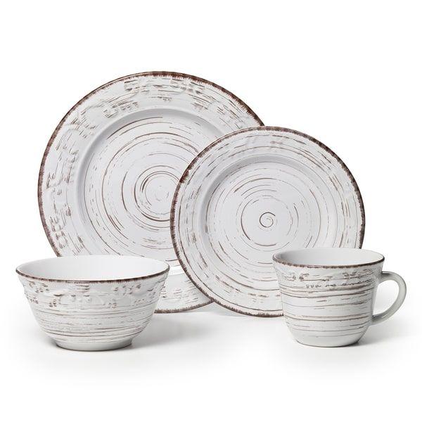 Rustic farmhouse white dishes. This Pfaltzgraff \'Trellis\' sixteen ...