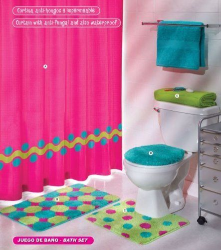 Girls Bathroom Options Pink Green Aqua Blue Circles Bath Set 5