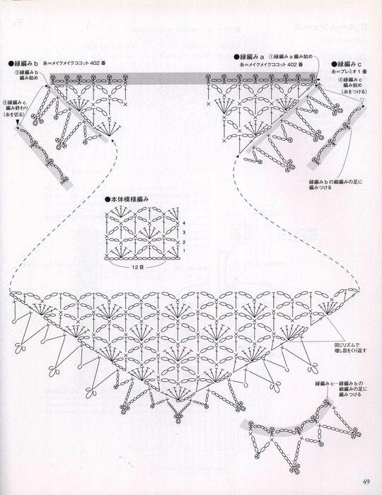 diagramma scialletto rosa | chales | Pinterest | Chal, Ganchillo y ...