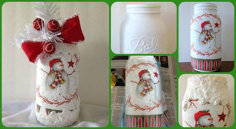 What Do You Get With A Christmas Napkin Mason Jar Magical Christmas Decoupage Decoupage Jars Napkin Decoupage