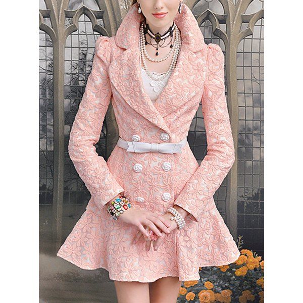 Floral Embroidery Stylish Turn-Down Collar Long Sleeve Women's Trench Coat