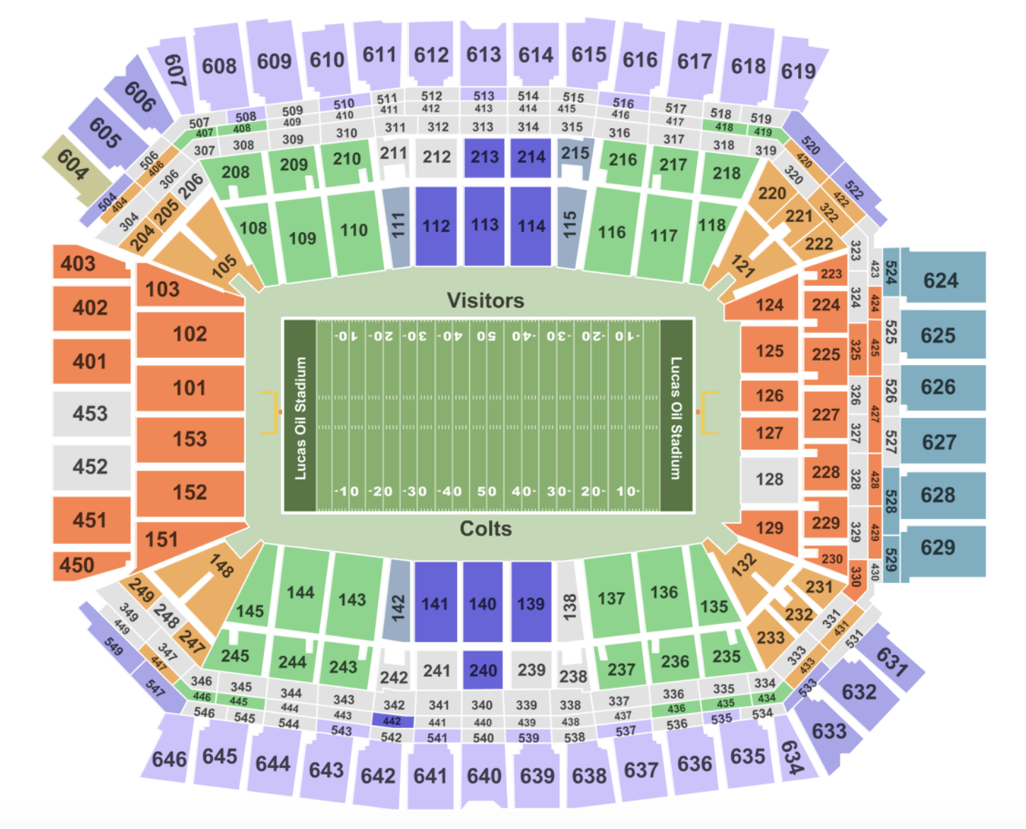 Lucas Oil Stadium Seating Chart View In 2020 Lucas Oil Stadium Seating Charts Big Ten