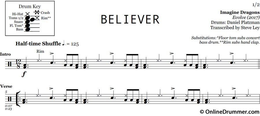 Believer Imagine Dragons Drum Sheet Music Believer Imagine