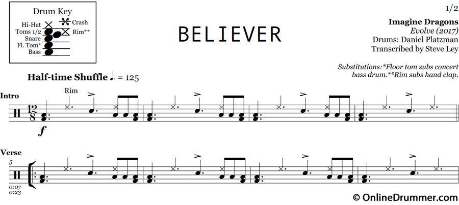 Believer Imagine Dragons Drum Sheet Music Onlinedrummer Com Believer Imagine Dragons Imagine Dragons Drum Sheet Music