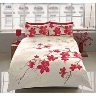 Living Blossom Red And Cream Duvet Set Kingsize From Homebase Co Uk