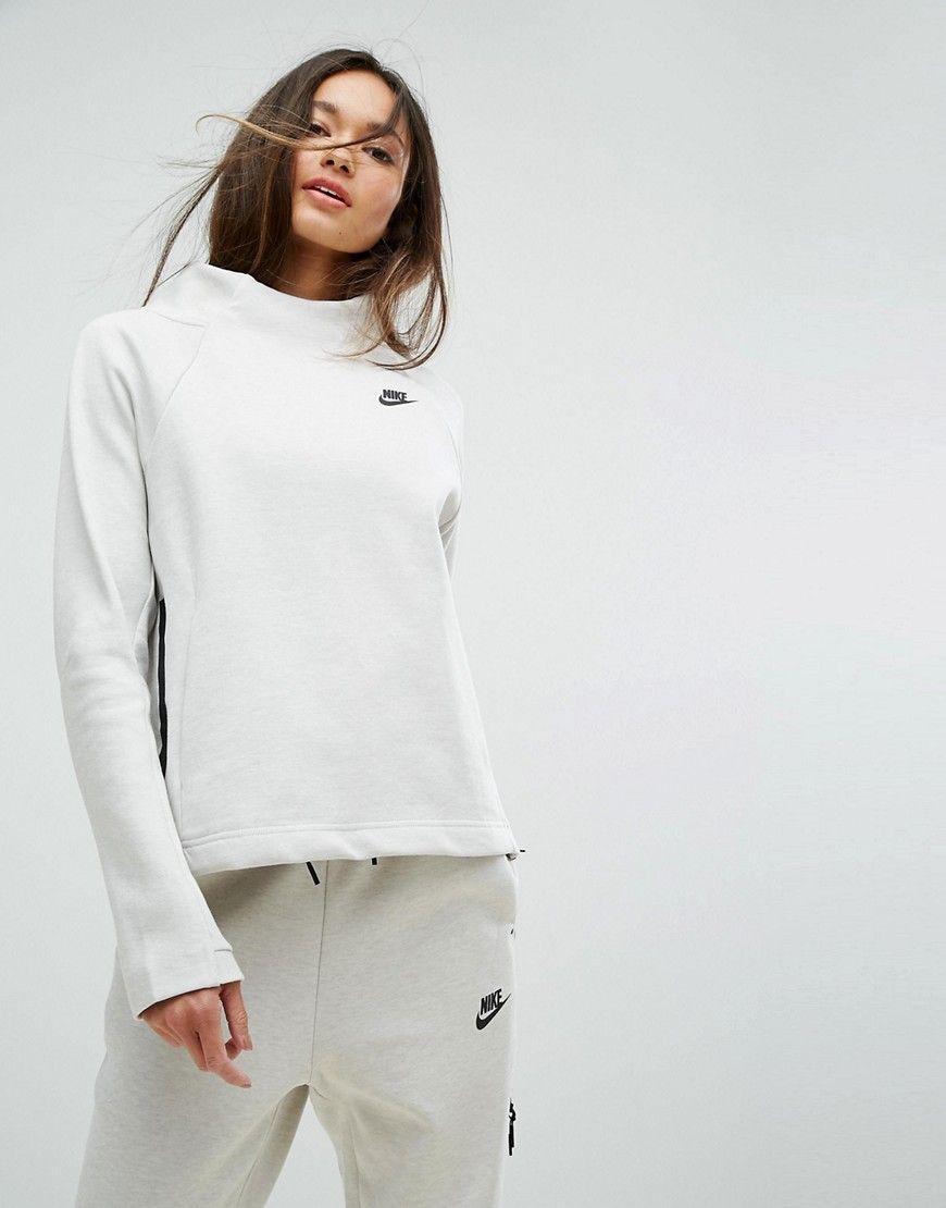 Get This Nike S Basic Sweatshirt Now Click For More Details Worldwide Shipping Nike Tech Fleecehigh Neck Sweatshirt With Zip Side Cream Sweatshirt By Nike [ 1110 x 870 Pixel ]