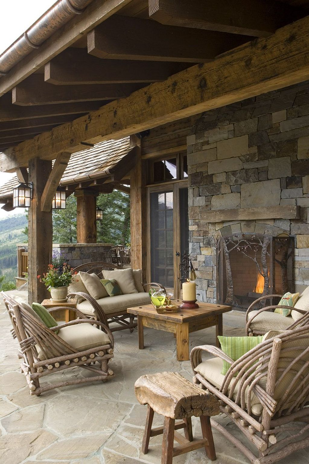 10 Rustic Outdoor Fireplace Designs For Your Barbecue Party Outdoor Living Space Rustic Patio Outdoor Living #outdoor #living #room #with #fireplace