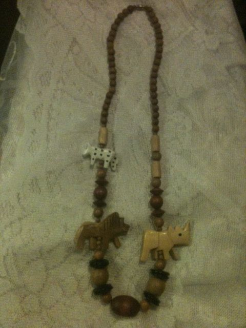 Vintage Wood Handcarved Animal Necklace by GranmaSweeTreasures, $10.00