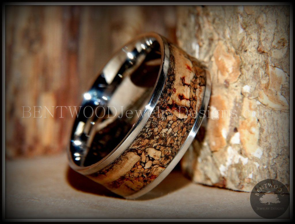 """Bentwood Ring - """"Figured Brown"""" Rare Mediterranean Oak Burl Wood Ring with Surgical Grade Stainless Steel Comfort Fit Metal Core - Bentwood Jewelry Designs - Custom Handcrafted Bentwood Wood Rings"""