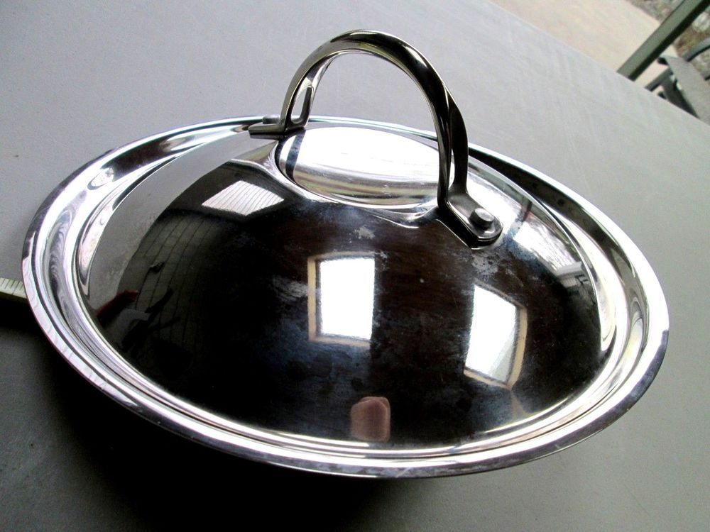 Lid Only Dome Stainless Steel Cooking Pot Pan 9 1 4 All Metal Unbranded Revere Ware Lidded