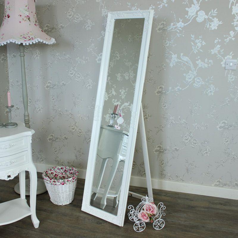 Ornate White Free Standing Cheval Mirror 45cm x 165cm | Freestanding ...