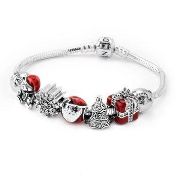 1281-PANDORA Holly Jolly Charm Bracelet