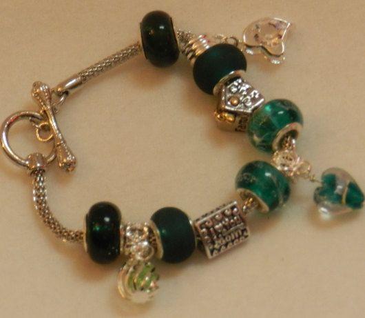 Mothers Day European Style Charm Bracelet in by JnJHandmadeGifts, $14.00