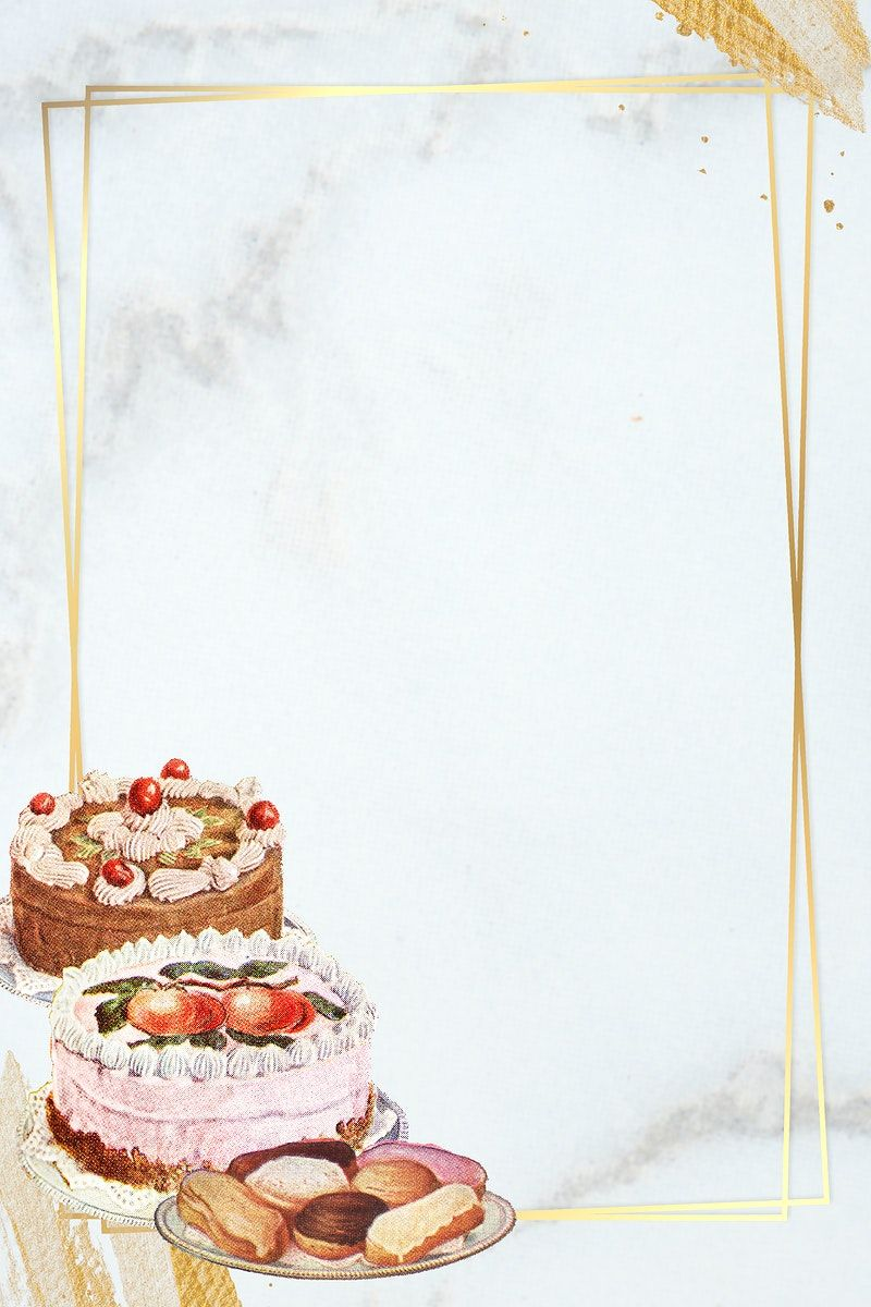 Download premium illustration of gold frame with cakes on
