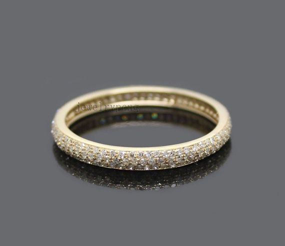 Jewelry Solid 14kt Yellow Gold 0.90Ct Pave Diamond by jewelrypeng