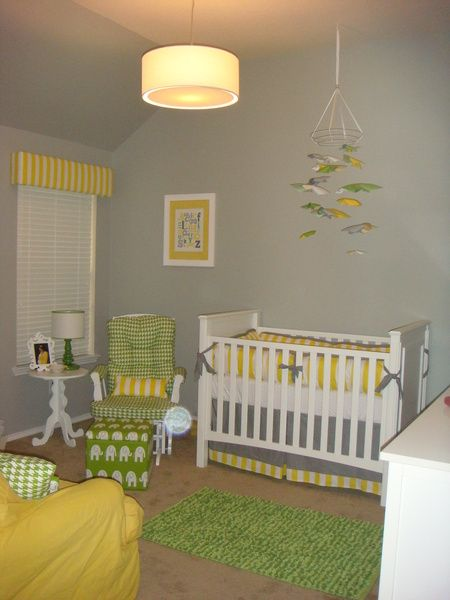 Grey Yellow Touches Of White And Green Perfect For Baby Boy