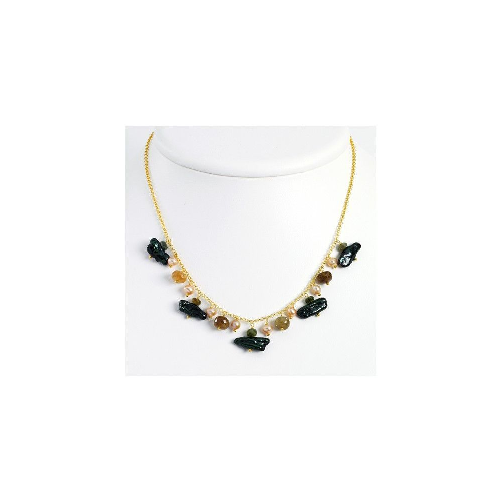 Sterling Silver & Vermeil Green/Peach Cultured Pearl/Tourmaline Necklace