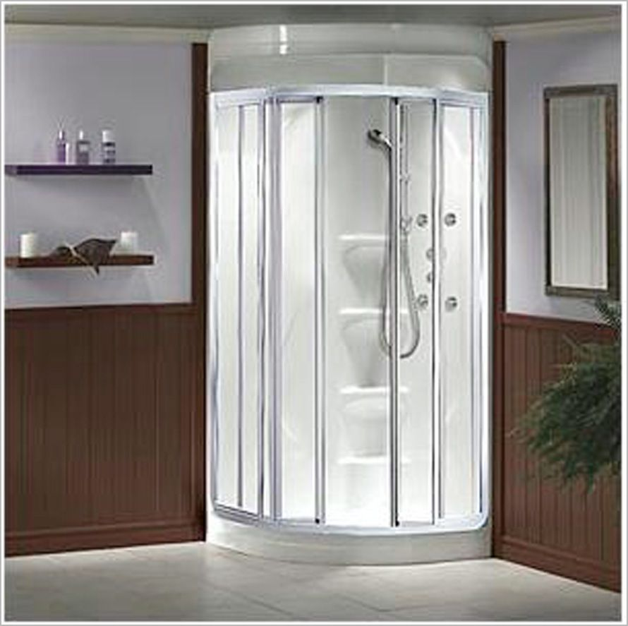 Bathroom recommended corner shower stalls for small for Small 4 piece bathroom