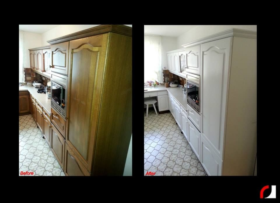 Eiken Keukenkast Verven : Eiken houten keuken wit gespoten spuiterij verven spuiten