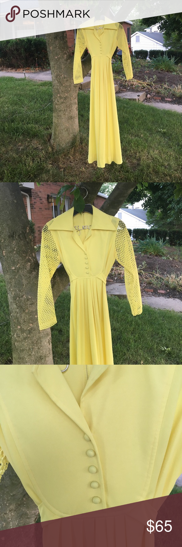 Vintage yellow maxi dress yellow maxi dress yellow maxi and