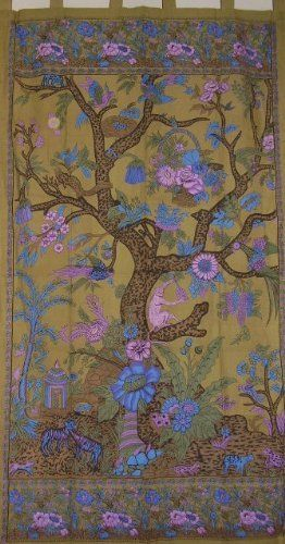 Tree of Life Tab Top Curtain-Drape-Door Panel-Olive by India Arts. $19.87. Unique Home Decor. 44 x 88 inches. 100% Cotton. Machine Washable. TREE OF LIFE PANEL ~ Beautiful tree of life curtain/door panel in a lovely olive green color with accenting colors of blue, purple and sage. Made of 100% power-loomed quality cotton offering a nice tight weave. Panel measures approximately 44 inches wide X 88 inches tall including the tabs. They can be machine washed on co...