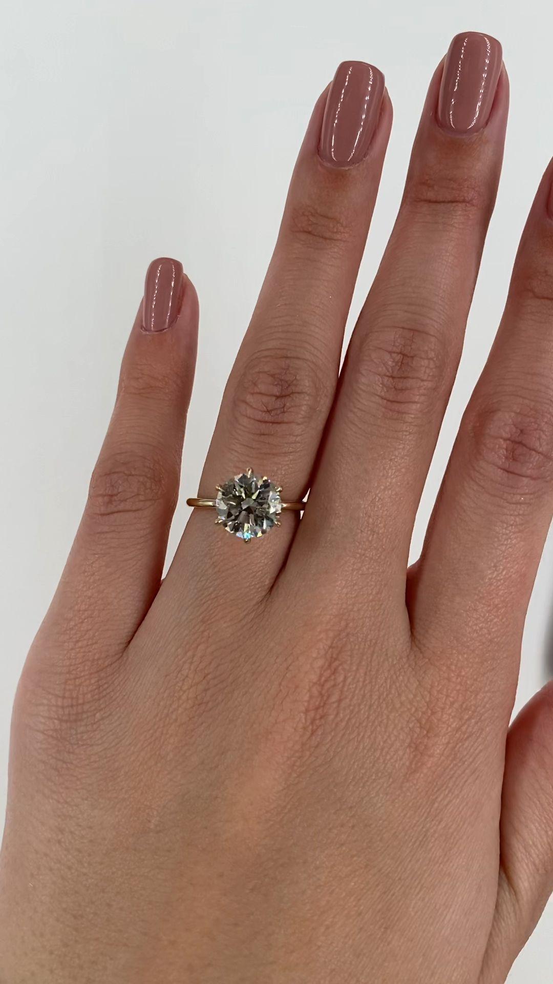 3 Carat Round Diamond RingRound Engagement Ring 14k Yellow | Etsy