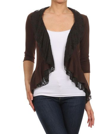 J-Mode USA Los Angeles Brown & Black Lace Open Cardigan | Open ...
