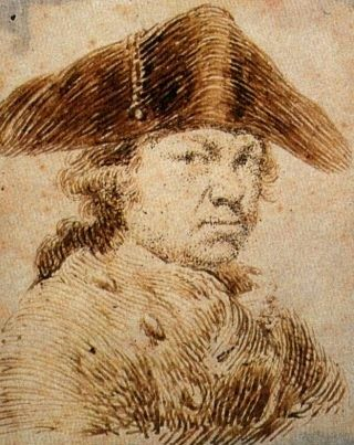 A self-portrait by Goya, sketched between 1790 and 1795, roughly the period during which he went deaf. It's around this time that his gaze becomes pretty intense and his powers of observation, already strong, become even more penetrating.