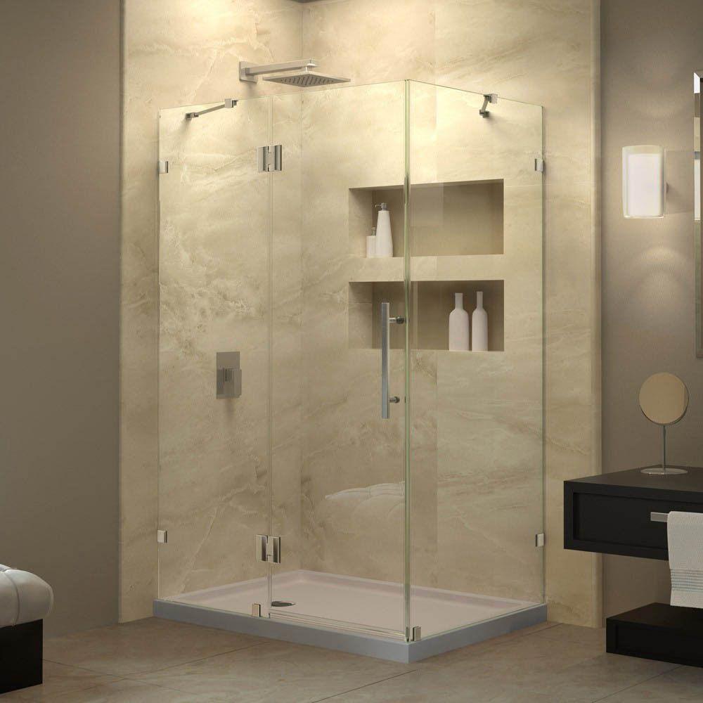 Dreamline Quatra Lux 34 312 X 46 312 Inch Frameless Hinged Shower Enclosure Chrome Grey Finish Shower Enclosure Frameless Shower Enclosures Shower Doors