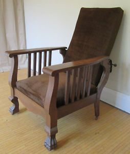 Early 1900's Morris Chair – Antique Lounge Chair – Claw ...