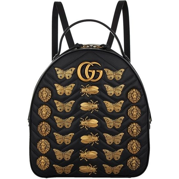 Gucci Marmont Gold Bug Backpack ($2,120) ❤ liked on