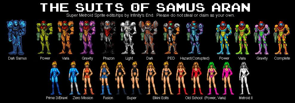 The Many Suits Of Samus Source In Comments Metroid