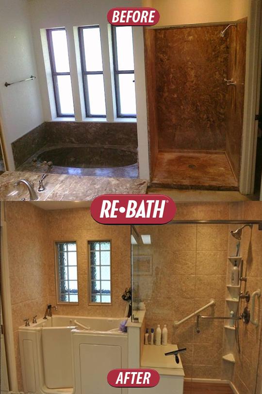 This bathtub was converted into a walk in tub. Nice work, #ReBath ...