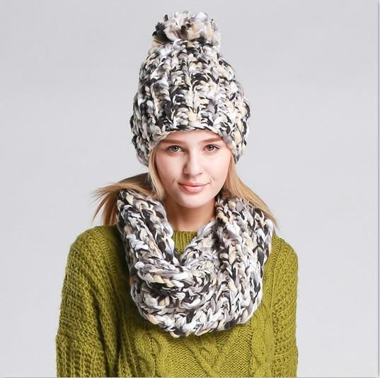 2017 Women Winter Hats And Scarf Sets Handmade Mixed Colors Thicker