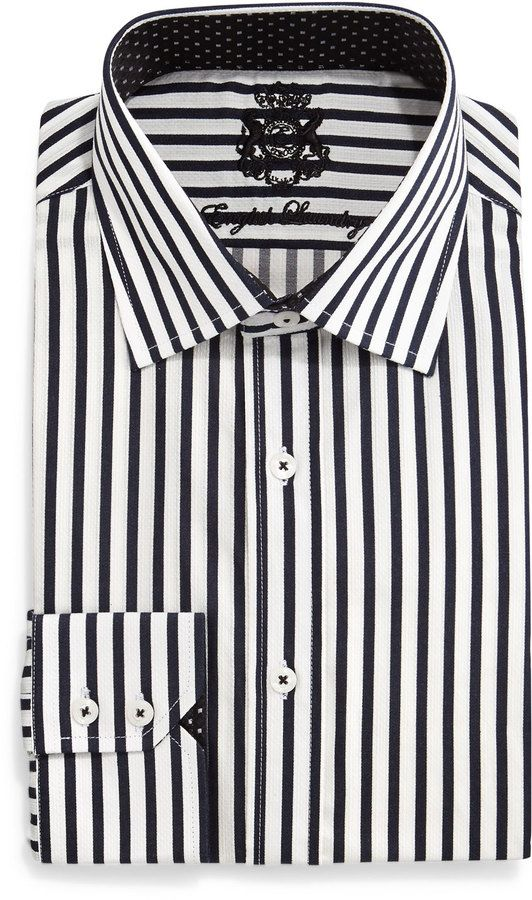 English Laundry Striped Woven Dress Shirt Black White Shirts