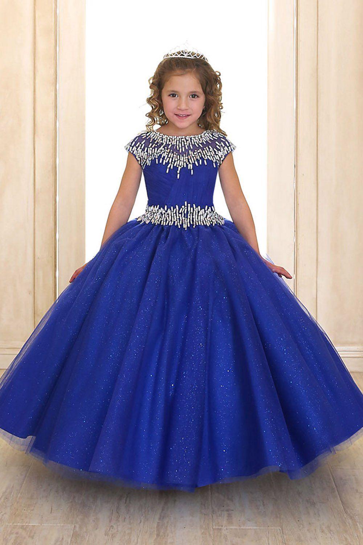 Royal Blue Sweetheart Short Sleeve Rhinestone Beaded Ball Gown Dress ...
