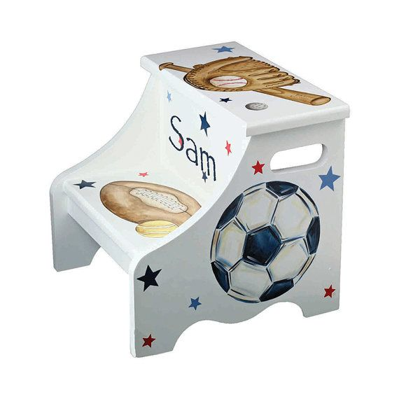 Sports step stool all star theme personalized gift for baseball sports step stool all star theme personalized gift for baseball football soccer negle Gallery